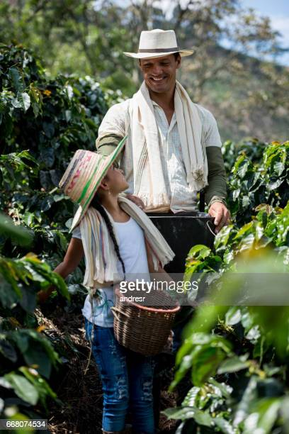 Beautiful girl working at a coffee farm with her father