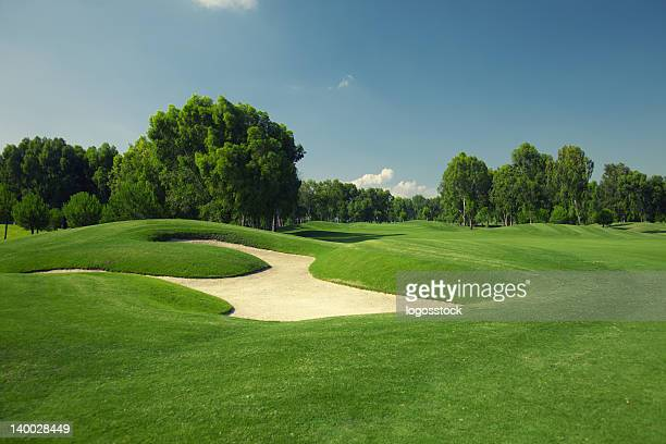 Beautiful golf course with sand trap
