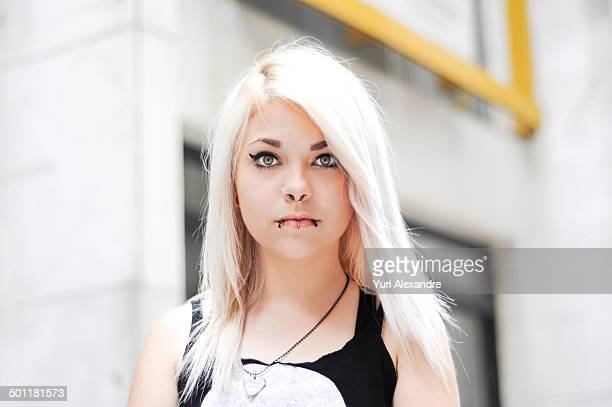 Beautiful gothic style blond young girl