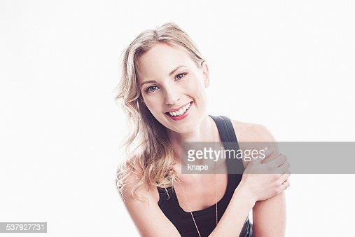 Beautiful happy young woman laughing
