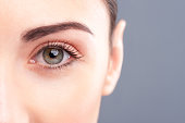 Close up of eye of young woman looking at camera with confidence. Isolated and copy space in right side
