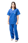 Full length portrait of a beautiful young Hispanic nurse wearing scrubs in a white background