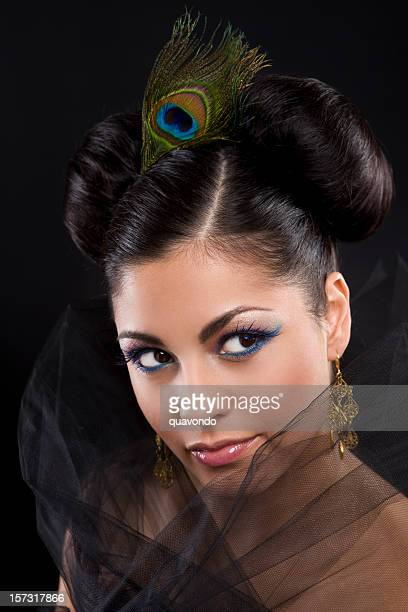 Beautiful Hispanic Young Woman Glamorous Portrait, Updo and Makeup