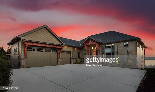 Beautiful Home Exterior at Night : Stock Photo