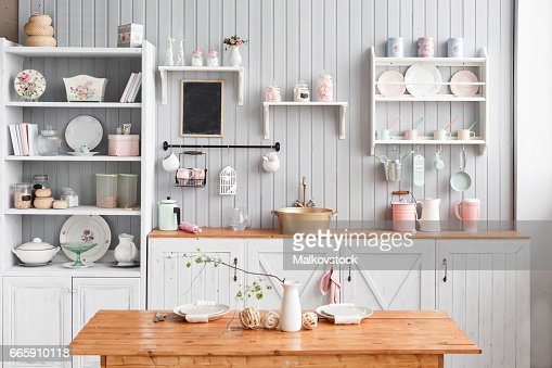 beautiful house, interior, view of the kitchen. : Stock Photo