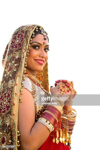Beautiful Indian bride in traditional wedding dress