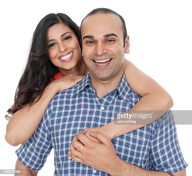 Beautiful Indian Woman Embracing Man