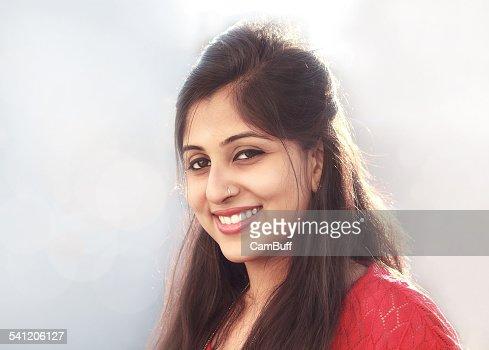 Beautiful Indian woman looking at camera