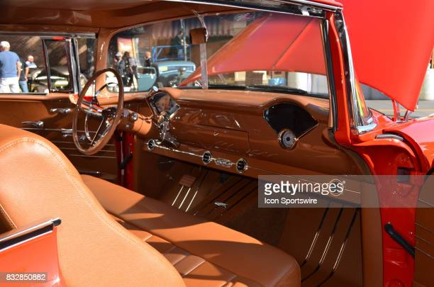 Beautiful interior dash and leather seating featured on this 1955 Chevy Bel Air on display at the Hot August Nights Custom Car Show the largest...