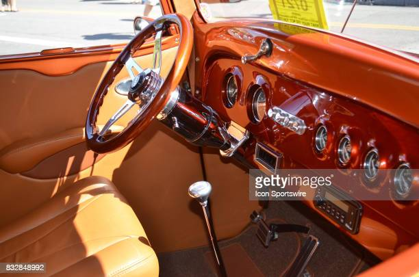 Beautiful interior design on the top ShownShine 1937 Chevy pickup on display at the Hot August Nights Custom Car Show the largest nostalgic car show...