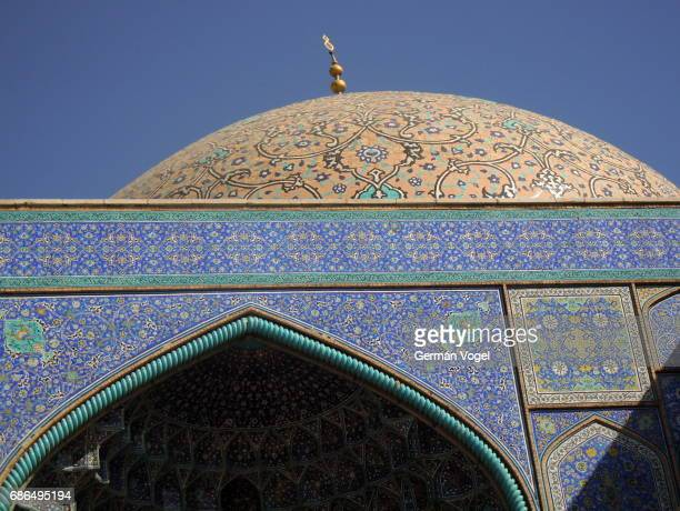 Beautiful Islamic architecture and mosaic art at Sheikh Lotfollah mosque of Isfahan, Iran