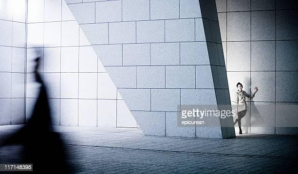 Splendida donna in giapponese, architettura moderna impostazione