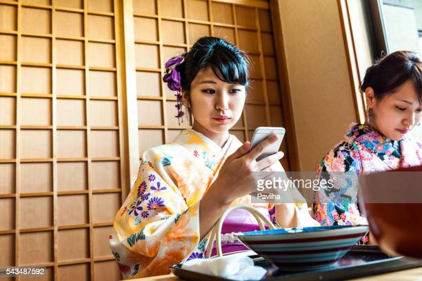 Beautiful Japanese Women in Kimono Taking Selfie, Kyoto, Japan