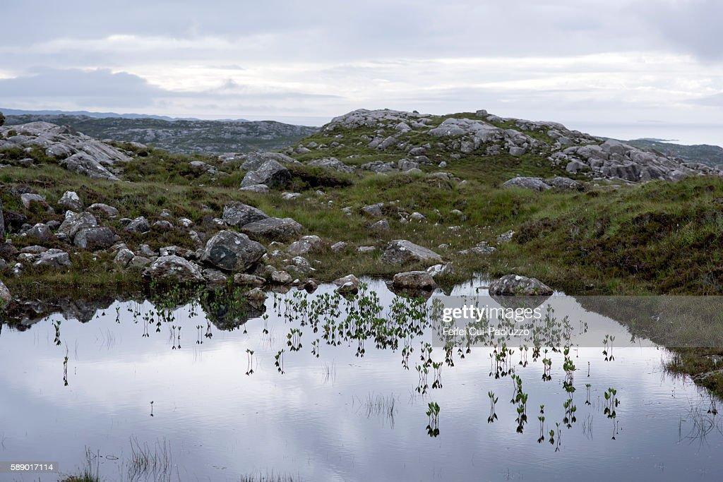 Beautiful landscape near Tarbert of South Harris in Scotland