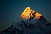 Ama Dablam peak at sunset.