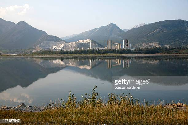 Beautiful Landscape of Industrial Cement Plant from Across the Lake