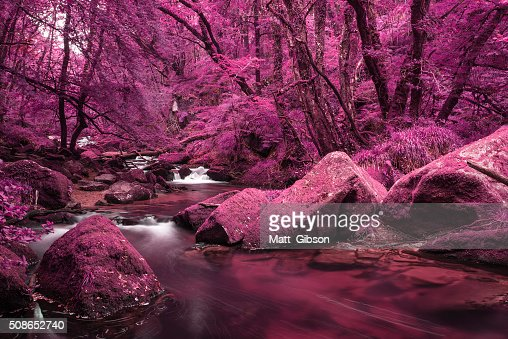 Beautiful landscape of surreal alternate colored landscape throu : Stock Photo