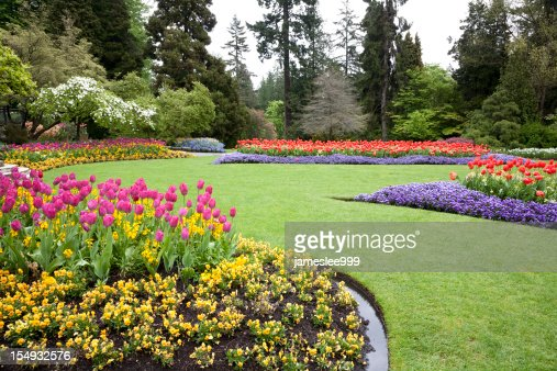 A beautiful landscaped garden of flowers