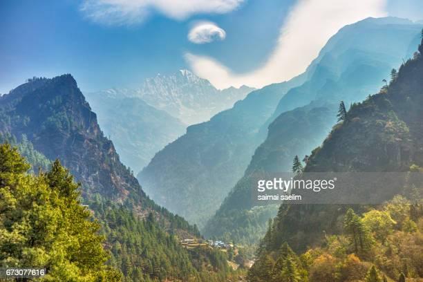 Beautiful lanscape of Himalaya mountains range, Thamserku mt. in Everest region