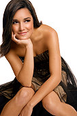Beautiful Latina Young Woman in Cocktail Dress on White, Copyspace
