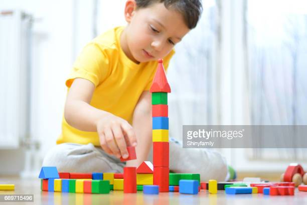 Beautiful little boy is playing with blocks