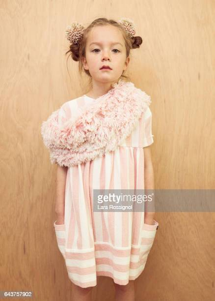 Beautiful Little Girl in Vintage Styled Floral  and Stripes