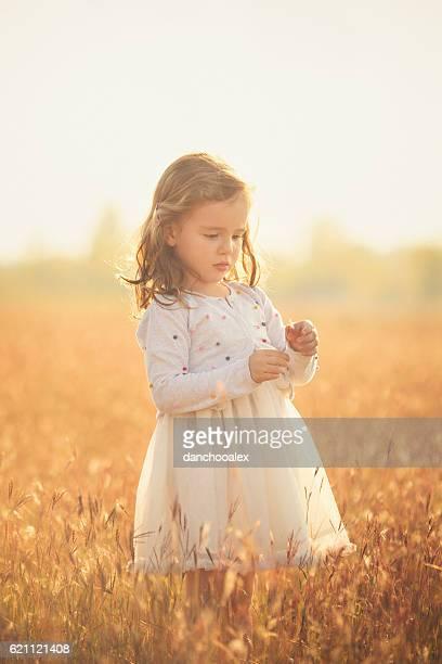 Beautiful little girl outdoor in the fields