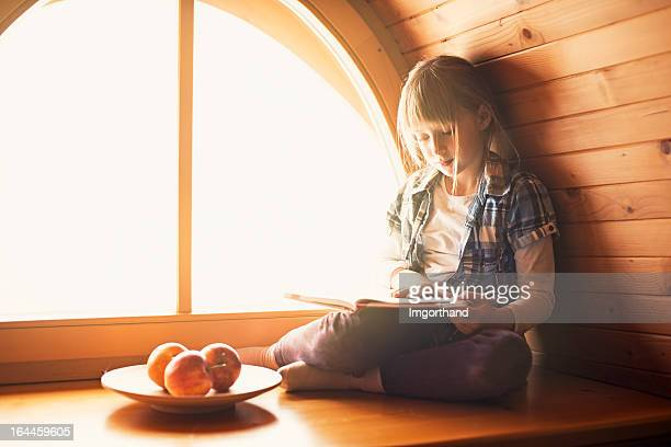 Beautiful little girl reading by the window