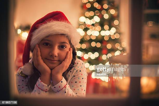 Beautiful Little Girl Waiting for Santa