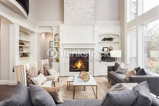Beautiful Living Room Interior With Tall Vaulted Ceiling Loft Area ...