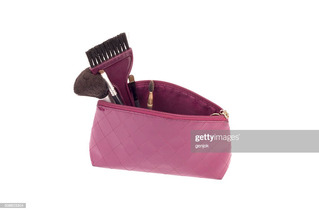 Beautiful make up bag with cosmetics : Stock Photo