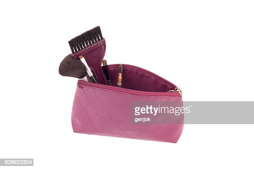 Beautiful make up bag with cosmetics : Stock Photo