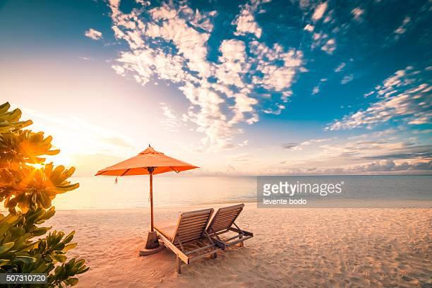Beautiful Maldives beach sunset