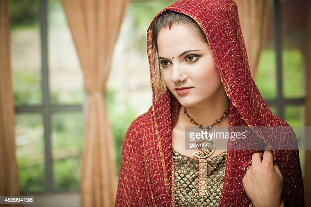 Beautiful, married, traditional Indian young woman from wealthy family.