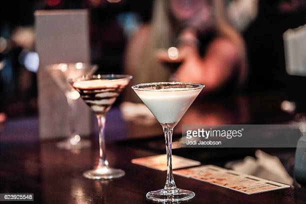 Beautiful Martini Glasses filled with speciality cream liquor drinks