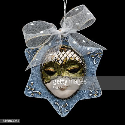 Beautiful mask of hand-worked for festive decoration, isolated : Stock Photo
