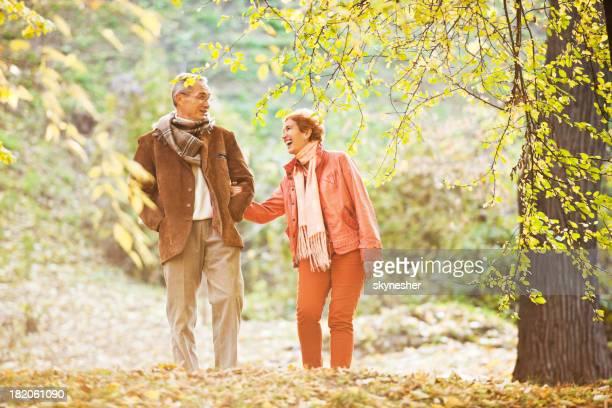 Bonito Casal caminhar no parque.