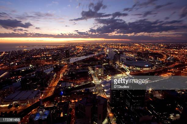Beautiful Melbourne city shot at sunset