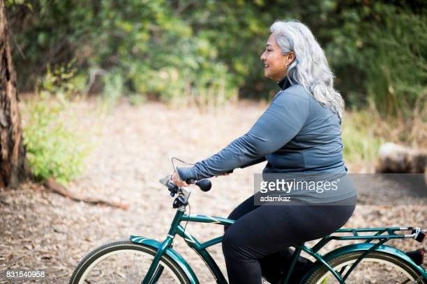 Beautiful Mexican Woman Biking