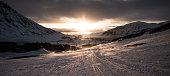 Midnight sun over Longyardbyen