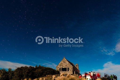 Beautiful Milky Way Galaxy Rising Above Church Of Good
