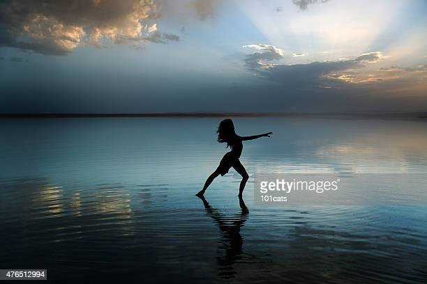 Beautiful modern ballet dancer dancing on the lake with tulle