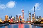 Beautiful modern city scenery at night in Shanghai, China