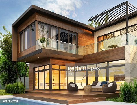 Beautiful modern house with garden : Stock Photo