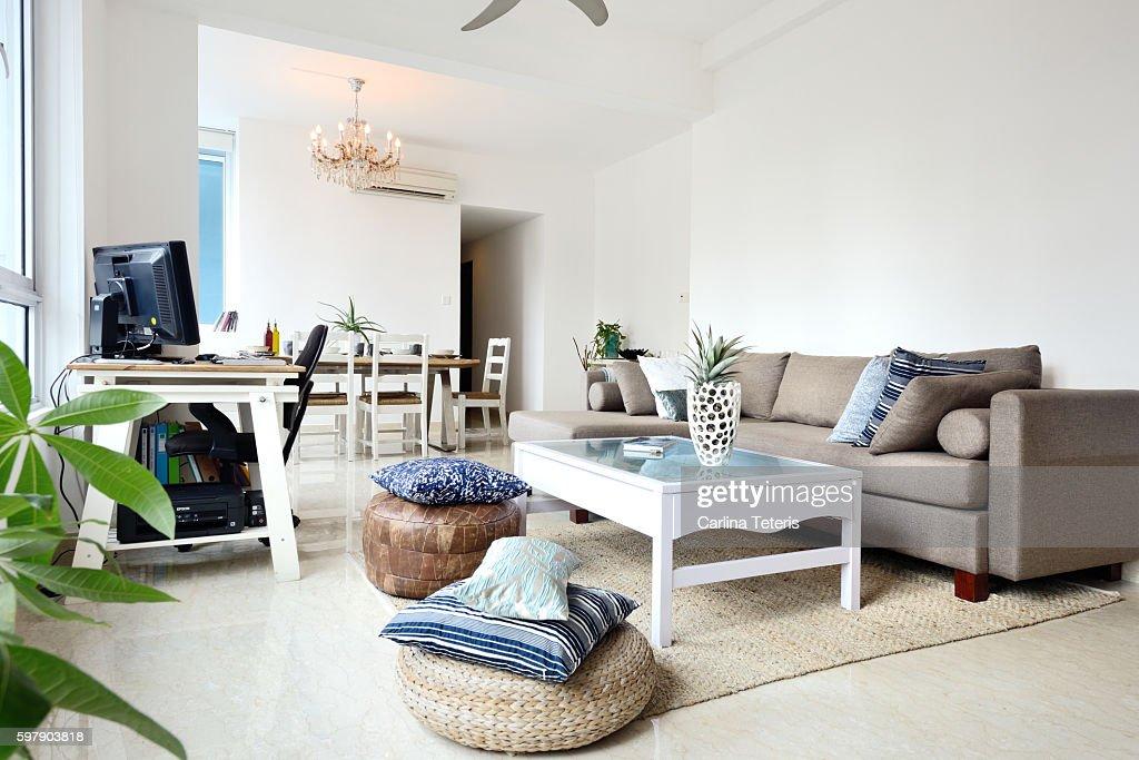 beautiful modern luxury living room stock photo