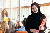 beautiful modern Muslim businesswoman portrait in office.