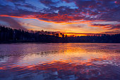 Beautiful morning image with rising sun and colorful sky