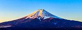 Beautiful Mount Fuji in winter with snow in Japan