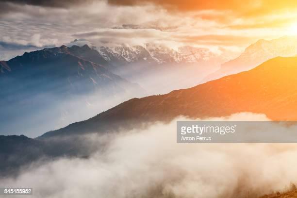 Beautiful mountain landscape at sunrise. Nepal, Himalayas