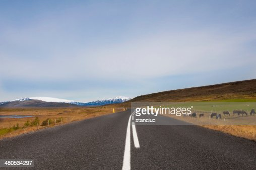 Beautiful mountain road in Iceland, with glaciers on the horizon : Stock Photo